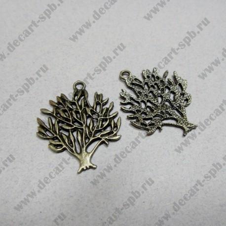 Дерево продолговатые листочки бронза, 30*26 мм