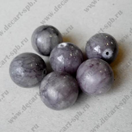 Каменная бусина, серо-фиолетовый, 19 мм