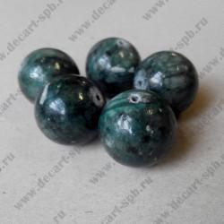Каменная бусина, темно- зелёный, 20 мм