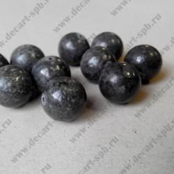 Каменная бусина, графит, 15 мм