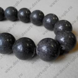 Каменная бусина, тёмный графит,  20 мм