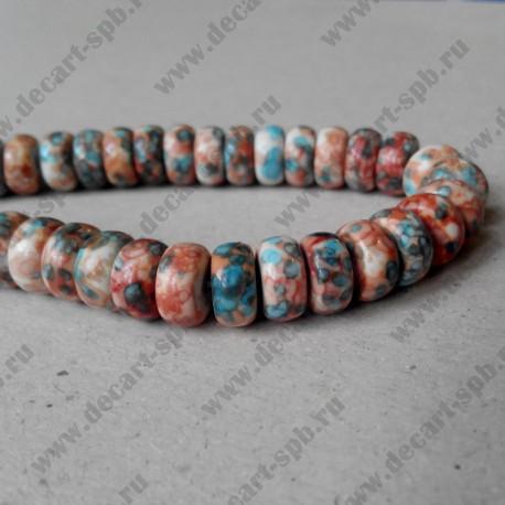 Бусина рондель, персиково-голубой микс, 10*5 мм