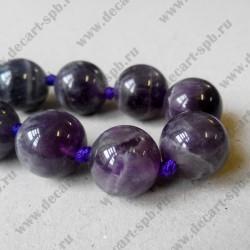 Бусина аметист, фиолетовый, 14 мм