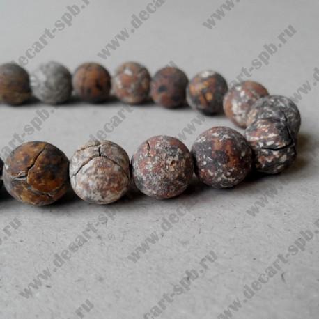 Бусина, бежево-коричневый, 10 мм