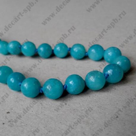 Бусина, голубой, 8 мм