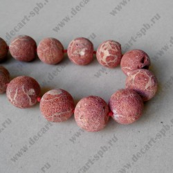 Бусина натуральный материал лава грязно-красный 20 мм