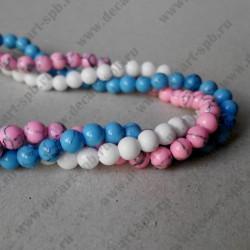 Бусина , бело-розово-голубой микс, 4 мм