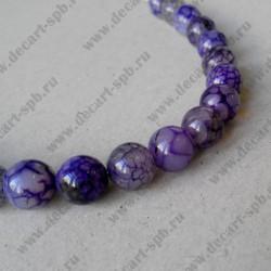 Бусина, фиолетовый, трещины, 10 мм
