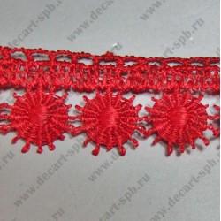 Гипюр сердечки розовый 13 мм длина 50 см