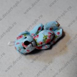 """Игрушка """" мишка"""",  бирюзовый в цветы, 45 мм"""
