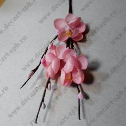 Цветы вишни из ткани, розовые, общ. длина 14 см