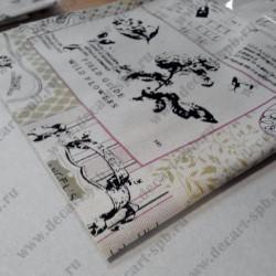 """Ткань """"декор 21"""" с принтом (60% лён, 40% хлопок), 50*50 см"""