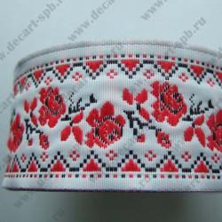 Лента декоративная русские узоры 35 мм, длина 50 см