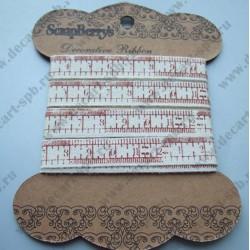 Лента декоративная сантиметр шебби 10 мм, длина 50 см