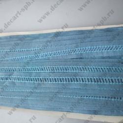Лента отделочная мережка хлопок голубая 18 мм, длина 50 см