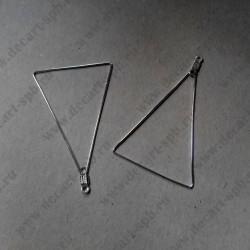 Основа для серёг, треугольник, серебро, 48*34 мм