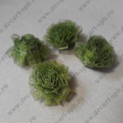 Декоративные цветы из органзы, зелёные, около 20 мм