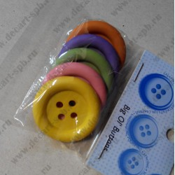 Набор пуговиц, цветное ассорти, пластик, 34 мм