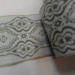 Лента декоративная, орнамент, зелёный,  69 мм, 50 см