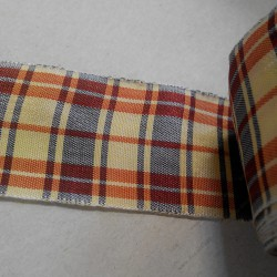 Лента декоративная, клетка, красно-жёлто-синяя, 44 мм, 50 см