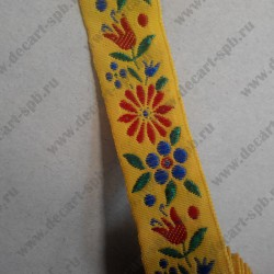 Лента декоративная, цветы, жёлтая, 24 мм, 50 см