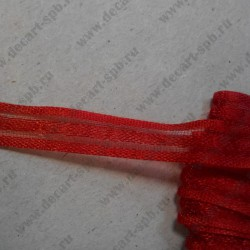 Лента декоративная, красная, 9 мм, 50 см