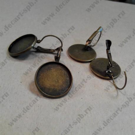 Швензы для серег с рамкой, цвет-бронза, диаметр 18 мм, общая длина 34 мм