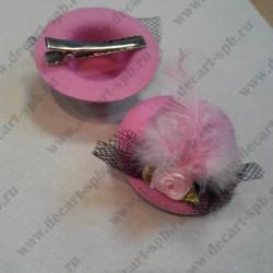"Заколка ""шляпка с вуалью"", светло-розовая, диаметр 58 мм"