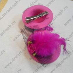 "Заколка ""шляпка с вуалью"", ярко-розовая, диаметр 58 мм"