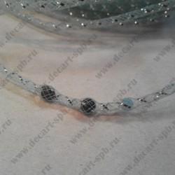 Шнур декоративный, сетка, бирюзовый, макс. продетая бусина 6 мм, 1 м