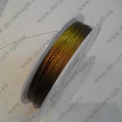 Проволока для бисероплетения (сталь), цвет латунь, 0,3 мм, 1 м