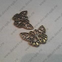 """Подвеска """" бабочка ажурная"""", цвет - ант. бронза, 39*30 мм"""
