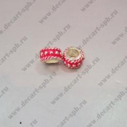 Бусины Пандора металлическая 11х6 мм красная