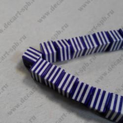 Бусины акриловые  фиолетовые, кубик, в полоску,  8*7мм 1 шт