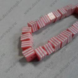 Бусины акриловые светло-розовые, кубик, в полоску, 8*7мм 1 шт