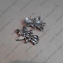 """Подвеска """" ангел с сердцем"""", ант. серебро, 18*22 мм"""