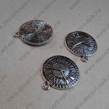 """Подвеска """" часы"""",  ант.серебро, 25*29 мм"""