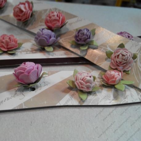 Цветы бумажные, микс разных размеров, от 12-15 мм, 5 шт