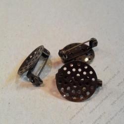 7-1 Основа для броши с сеточкой, бронза 18 мм x 9 мм