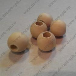 Бусина деревянная, необработаная, 16 мм, внутреннее отверстие 5 мм