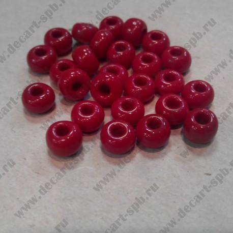 Бисер стеклянный красный, чешский, 6мм, 10 гр