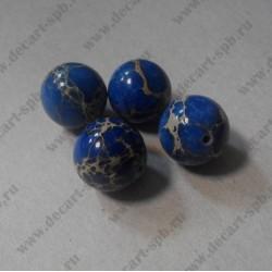 Бусина варисцит,  синий,  12 мм
