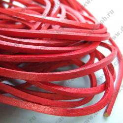 Шнур кожаный 3х3мм красный 1м