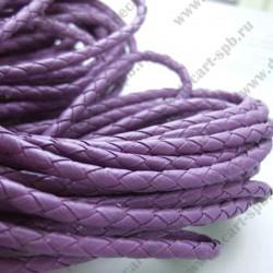 Шнур кожзам 5мм, плетеный, фиолет, 1м