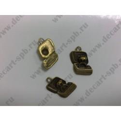 1-9 кольцо в коробочке бронза 20х15мм