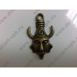 1-8 маска с рогами бронза 32х19мм