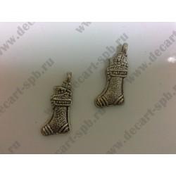 1-9 рождественский носок с подарком серебро 22х11мм