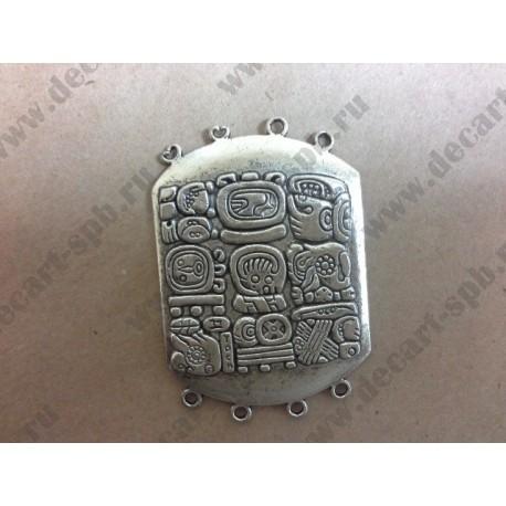 6-13 Коннектор Майя цвет - ант серебро 34х49мм