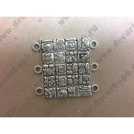 6-13 Коннектор Майя цвет - ант серебро 32х35мм