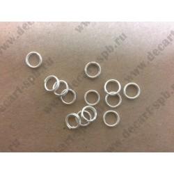 Кольцо для бус двойное цвет - серебро 5 мм 10 шт